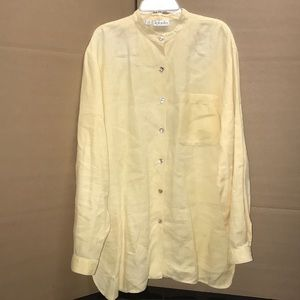 Yellow long sleeve, 100% linen, blouse